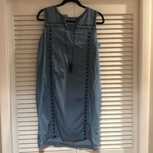 Embroidered chambray tank  dress